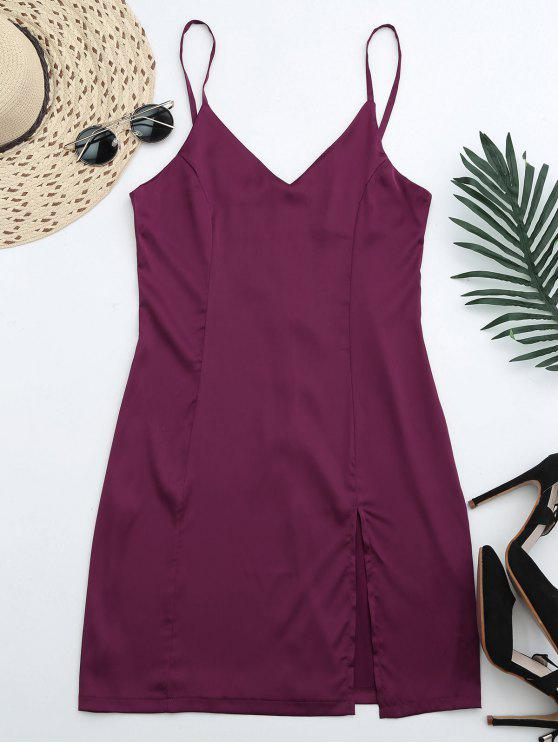 fancy Back Zipper Front Slit Club Dress - PURPLISH RED XL