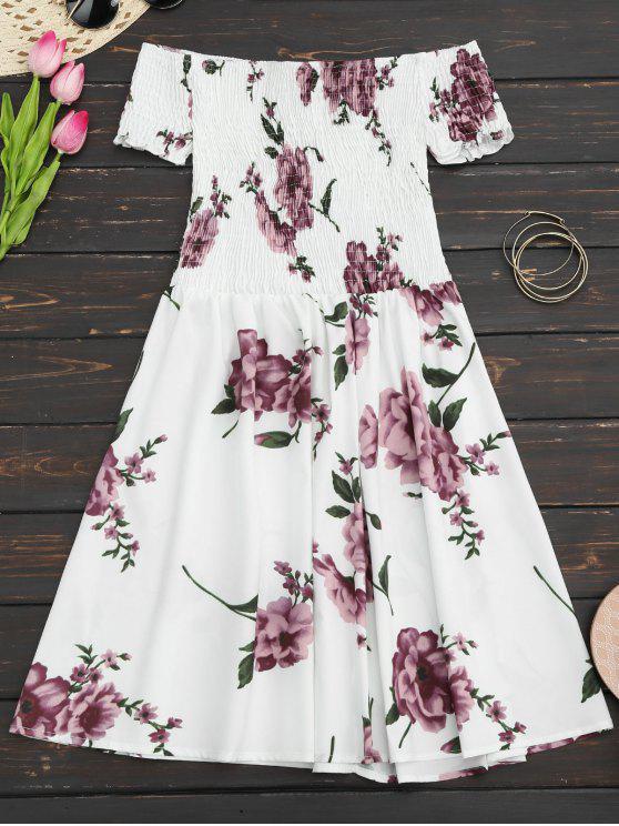 Robe d'été imprimée fleur épaules dénudées - Blanc L