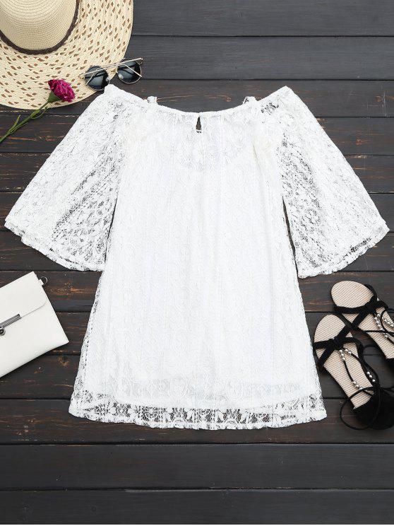 Criss Cruz Mini vestido de encaje - Blanco XL