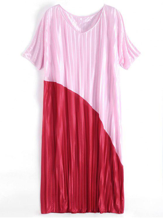 فستان ماكسي الحجم الكبير مطوي - الأحمر والوردي مقاس واحد