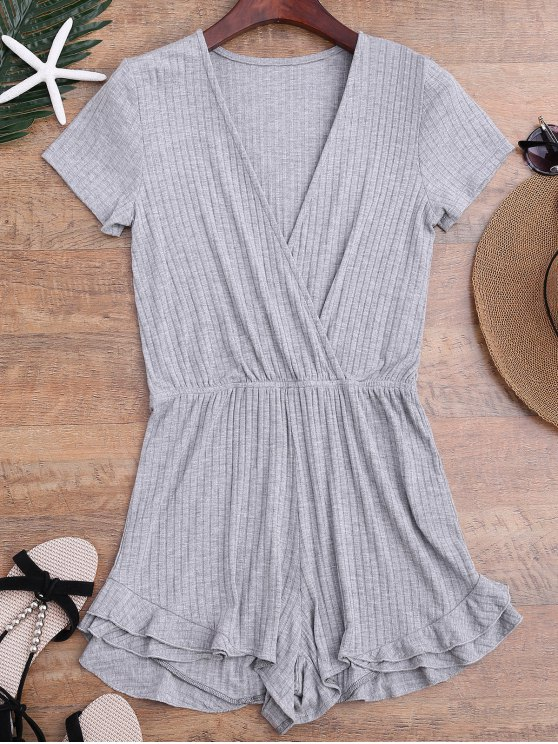 Ruffled Plunging Neck Surplice Romper - Gris L
