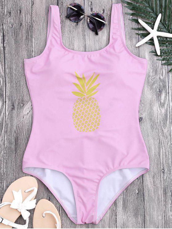 trendy U Neck Backless Pineapple Print Swimsuit - PINK S