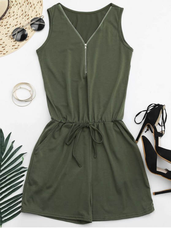 buy Belted Half Zip Romper - ARMY GREEN L