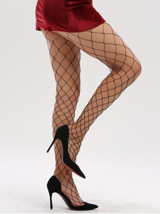 buy Hollow Out Fishnet Tights - FULL BLACK