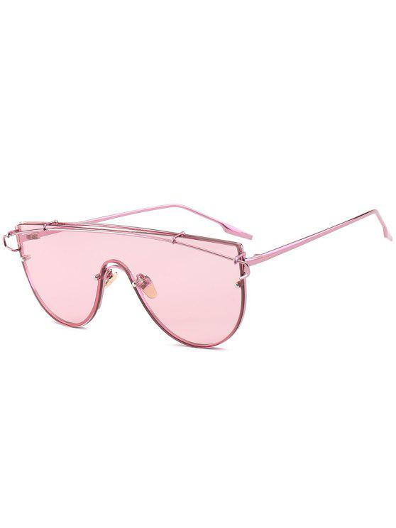 Metallic Long Crossbar Shield Sunglasses - Pink