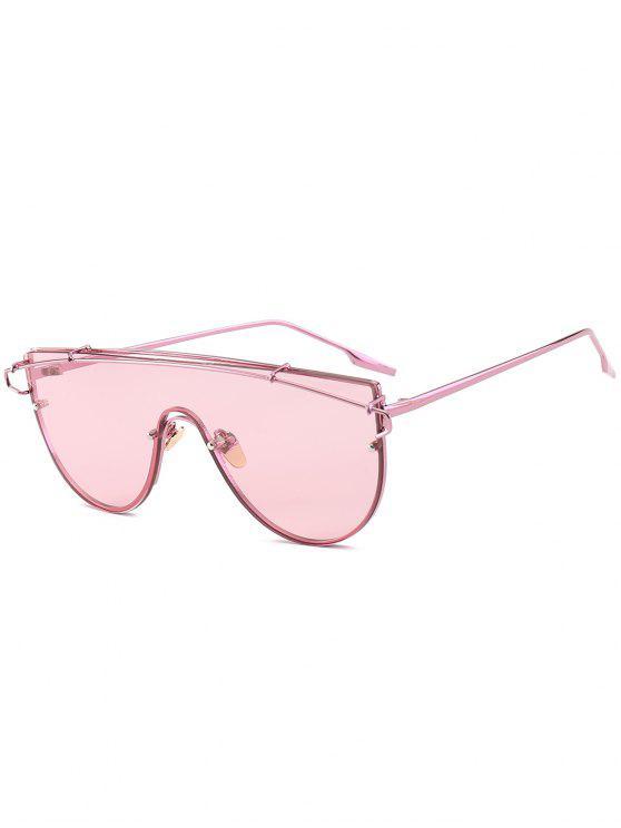 Óculos de Sol com Armação Metálica e Lente Única - Rosa