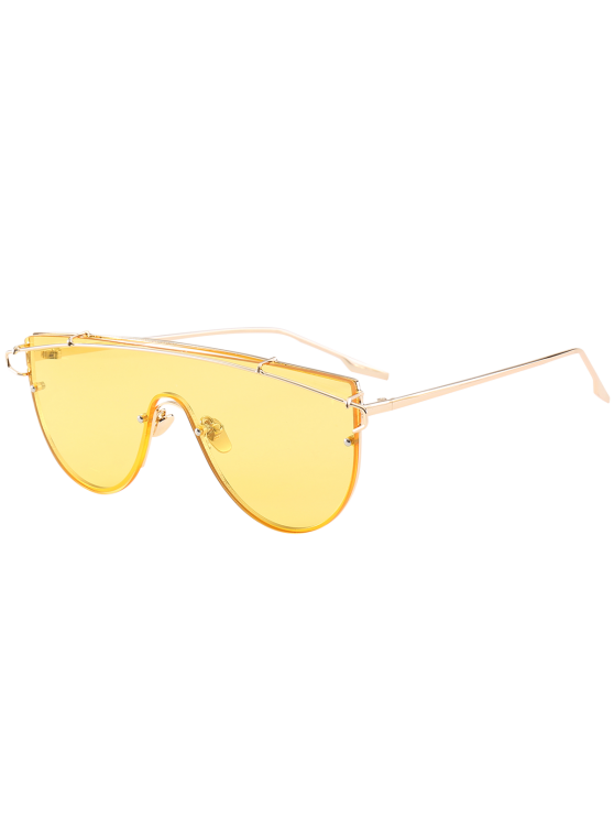 Metallic Long Crossbar Shield Sunglasses - Yellow