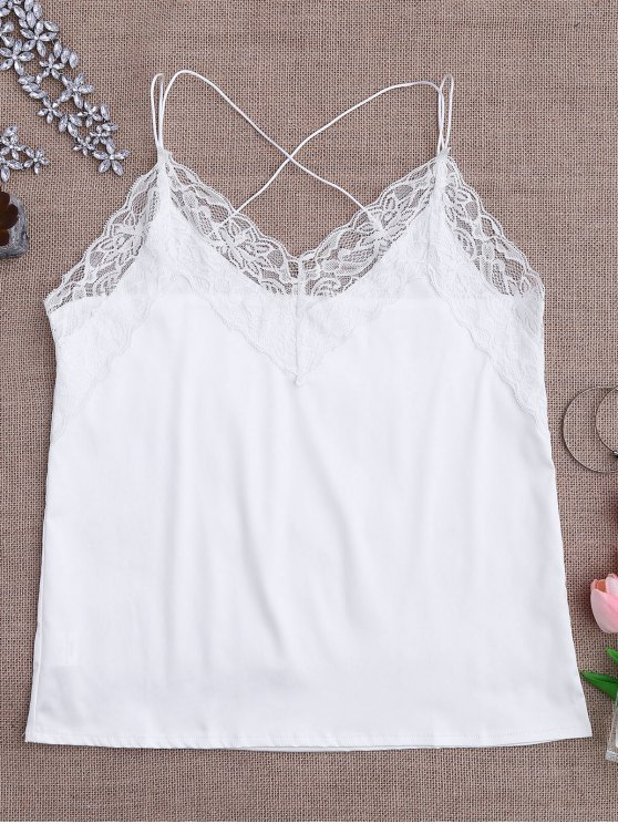 best Satin Lace Trim Strappy Cami Sleep Top - WHITE L