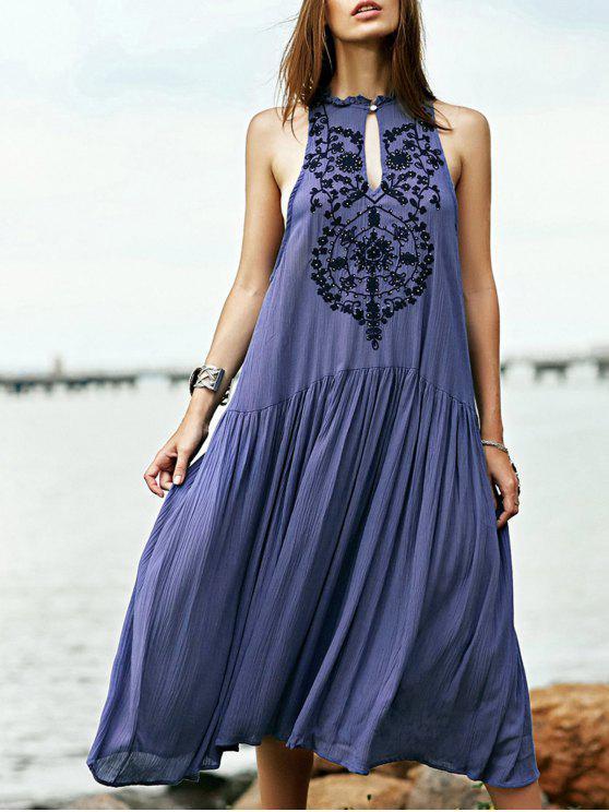 Gesticktes-böhmisches Kleid mit Perlen - Blau L