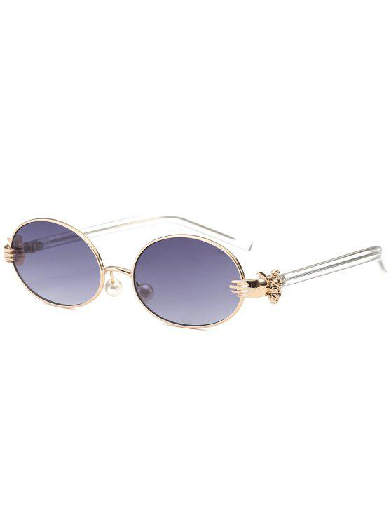 chic Metal Hand Faux Pearl Nose Pad Oval Sunglasses - GRAY