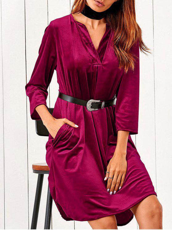 latest V Neck Pockets Midi Velvet Dress - RED L
