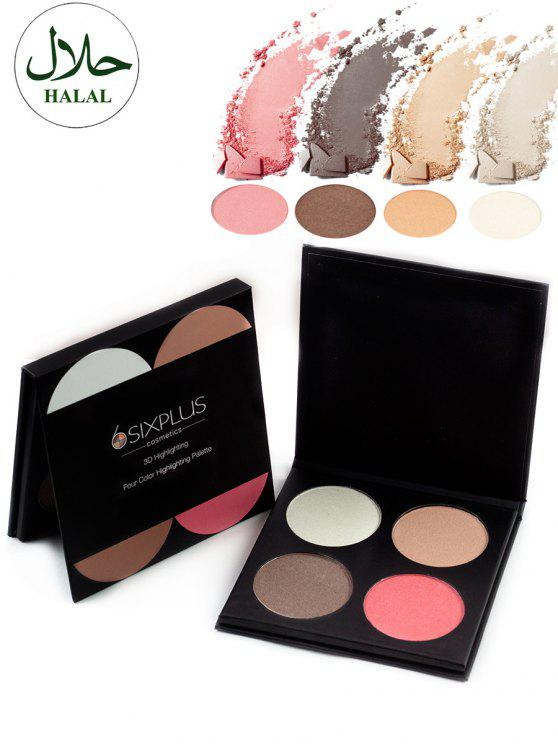 trendy Halal 4 Colors Soft Mineral Highlighting Powder Palette - COLORFUL