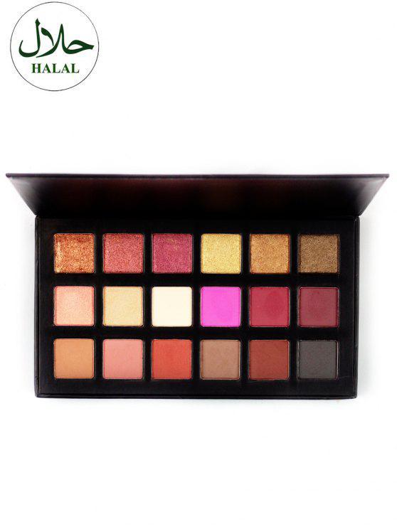 Halal 18 Farben Schimmer Matte Lidschatten Palette - Farbig
