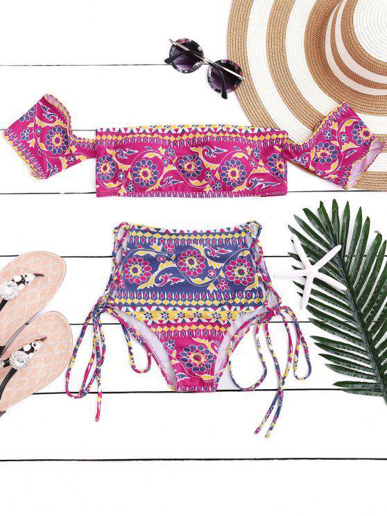 fashion Off The Shoulder Lace Up Bikini Set - ROSE S
