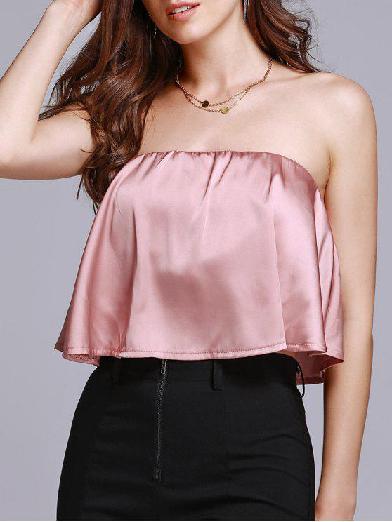 women Solid Color Tube Top - PINK M