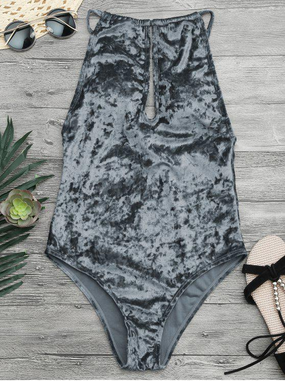 women Padded Keyhole High Neck One Piece Swimsuit - GRAY XL