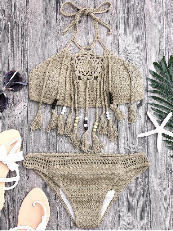 Borlas con cuentas de ganchillo Bikini - Caqui S