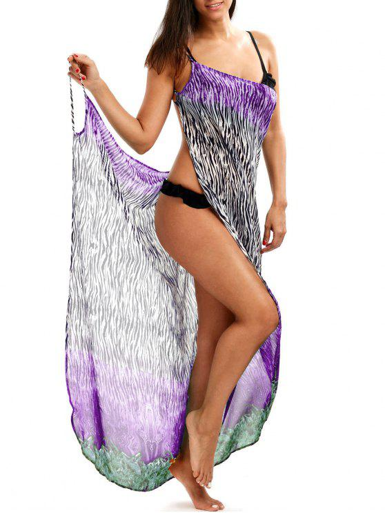womens Zebra Print Open Back Wrap Cover-Ups Dress - PURPLE XL