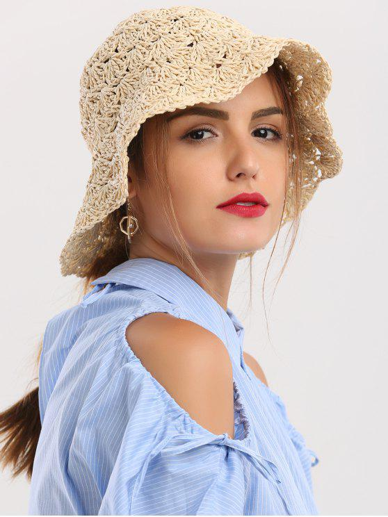 affordable Folding Crocheting Breathable Straw Hat - BEIGE