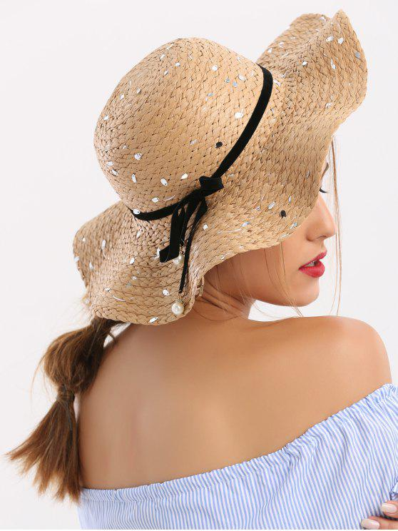 sale Detachable Ribbon Bowknot Sequin Straw Hat - COFFEE
