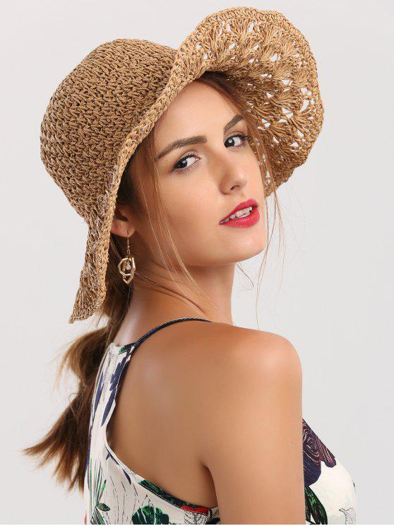Cappello Di Paglia Con Visiera Larga All'Uncinetto Pieghevole - Cachi