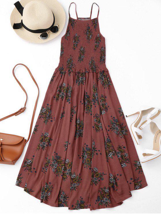 hot Floral A-Line Smocked Midi Dress - FLORAL M