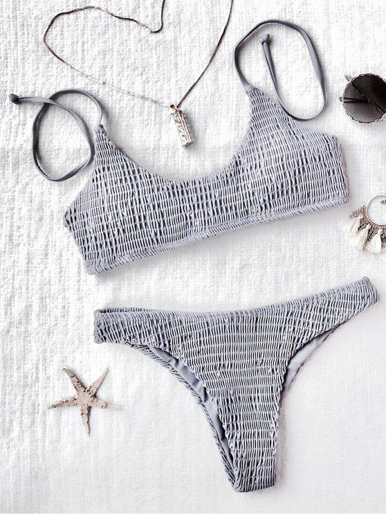 outfits Padded Smocked Bralette Bikini Set - GRAY M
