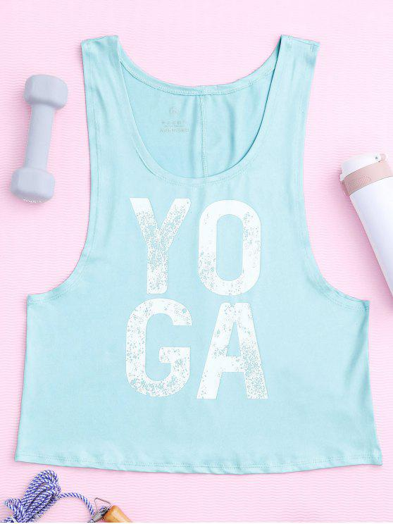 fashion Yoga Dropped Armhole Sports Tank Top - PHOTO CYAN M