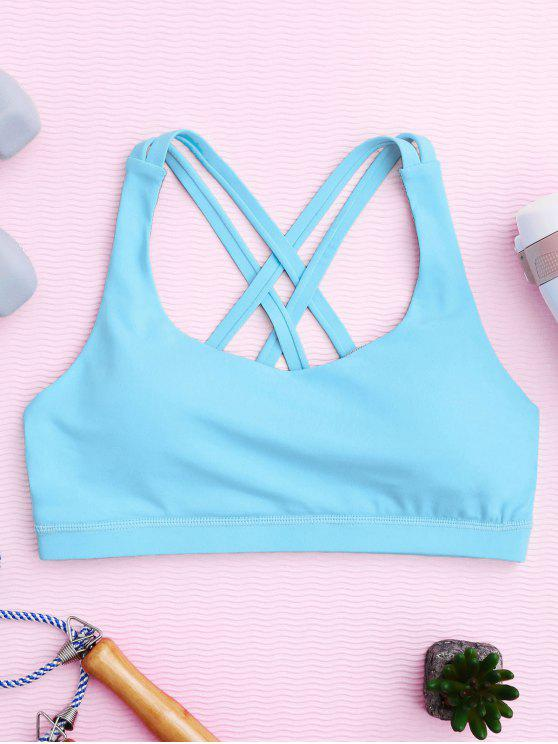online Strappy Crossover Sports Bra - BLUE S