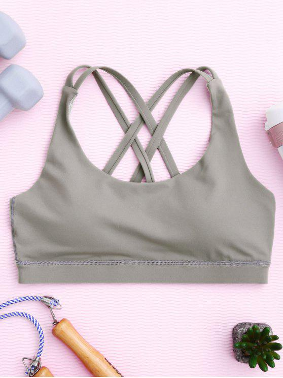 trendy Strappy Crossover Sports Bra - GRAY L