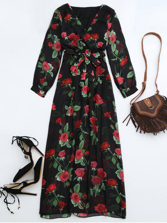 outfits Belted Floral Surplice Maxi Dress - FLORAL S