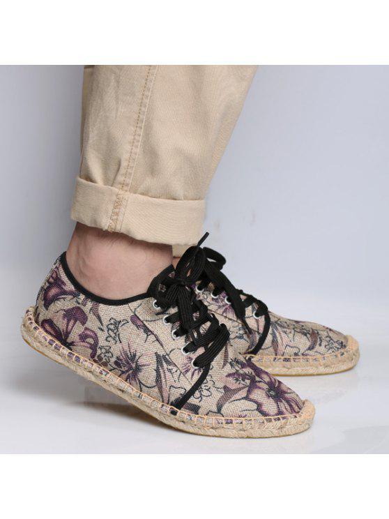 قماش التعادل التعادل حتى أحذية قماش - أحمر أرجوانى 43