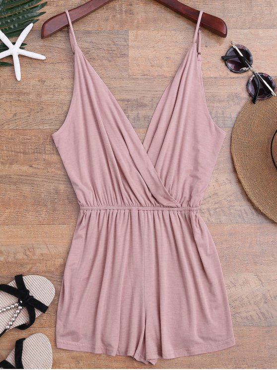 affordable Cami Plunging Neck Surplice Cover Up Romper - PINK M