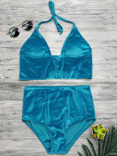 High Waisted Longline Bikini Top And Bottoms - Lake Blue L