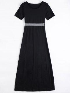 Mesh Panel Side Split Long Dress - Black M
