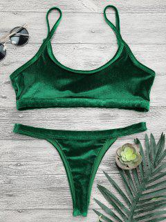 V String Thong Bralette Bikini Set - Green M