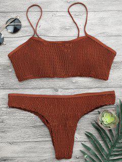 Cami Smocked Bralette Bikini Set - Dark Auburn S
