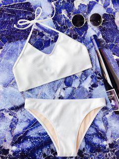 Bikini Halter Sans Armature Avec Couture - Blanc S