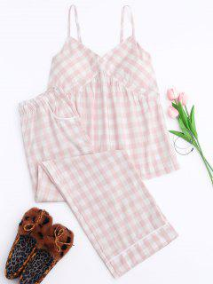 Padded Checked Cami Top With Pants Loungewear - Pink M