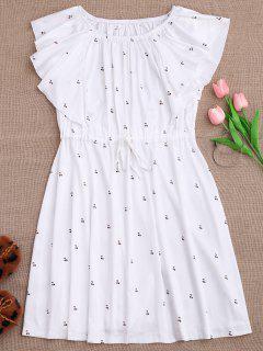 Drawstring Off Shoulder Cherry Loungewear Dress - White L