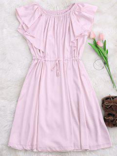 Satin Off Shoulder Drawstring Sleep Dress - Pink S