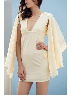 Bodycon Plunging Neck Cape Sleeve Mini Dress - Off-white L