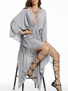 Plunging Neck High Slit Kaftan Maxi Dress - Light Gray 2xl