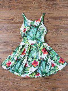 Tropical Print Cut Out Flared Dress - Green 2xl