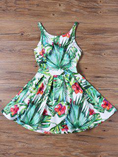Tropischer Druck Ausschnitt Flared Kleid - Grün 2xl