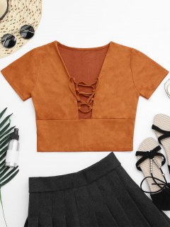 Faux Suede Lace Up Cropped Top - Orangepink S