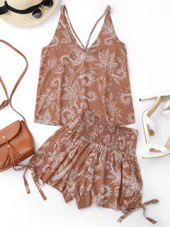 Printed Strappy Tank Top And Smocked Bowknot Shorts - Floral S