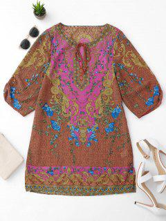 Side Slit Ethnic Printed Tunic Dress - L
