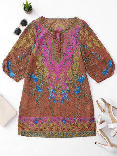 Robe à Tunique Imprimée à Rayures Latérales - S