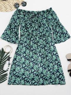 Leaves Print Mini Off Shoulder Dress - M